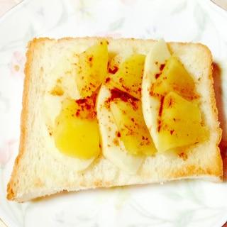 シナモン香る♡薩摩芋とリンゴのトースト