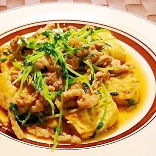 豆腐と豚肉と豆苗の炒め物