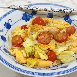 春キャベツと卵のコンソメ炒め♩トマト入り♡