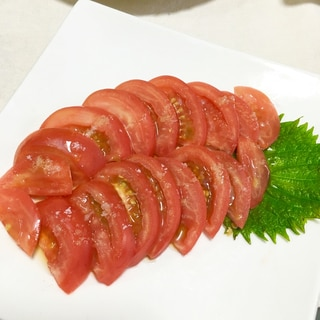 バクバク進む!トマトスライスの塩胡麻油がけ♡