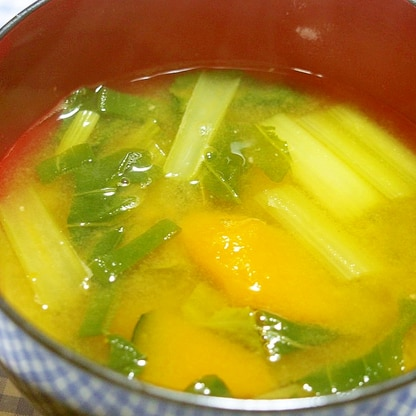 かぼちゃと小松菜味噌汁♪