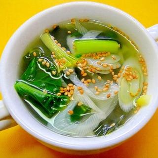 ターサイと長ネギわかめの中華スープ