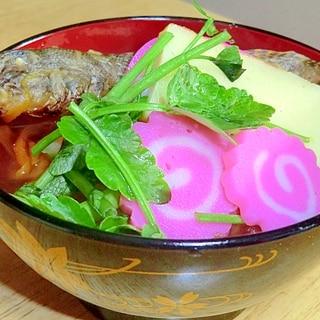伊達藩の雑煮 ハゼだしです 見事な乾燥はぜご覧あれ
