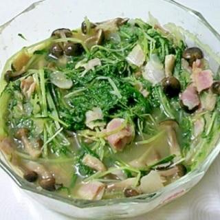 レンジで簡単。水菜とベーコンの洋風煮びたし