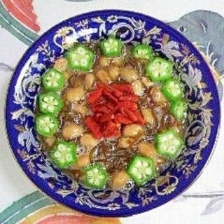 納豆に、オクラと、クコの実