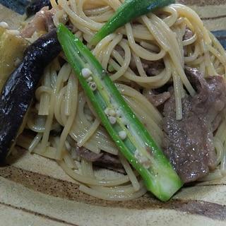 夏野菜と牛肉のパスタ