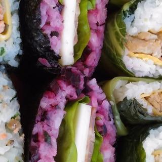 エコレシピ☆ビーツの茎と葉入り♪紫おにぎらず