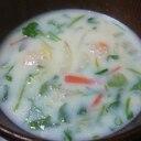 風邪予防に♪蓮根おろし豆乳スープ(七草入り)
