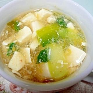 チンゲンサイとカニ缶のトロトロスープ