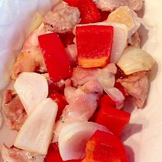 魚焼きグリル使用!鶏もも肉とパプリカと新玉ねぎ焼き
