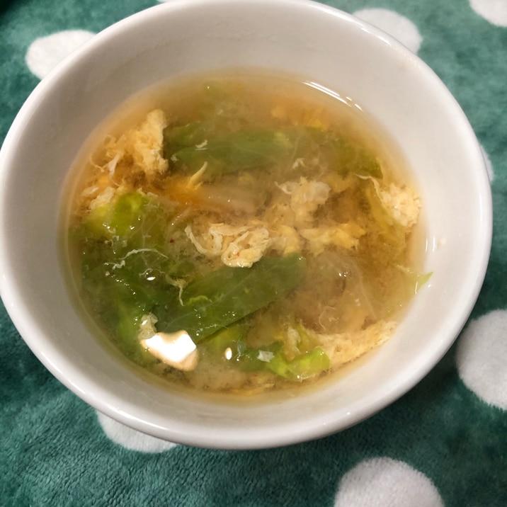 チャチャっと簡単みそスープ!レタス☆キムチ☆卵