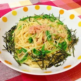 シャキシャキ水菜とプチプチ明太子の和風パスタ