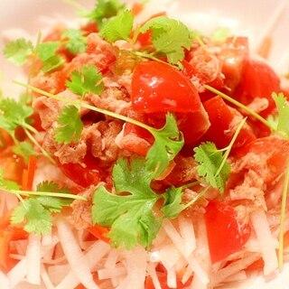 モリモリ食べられる♪ちょっとアジアな大根サラダ