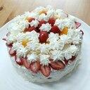子供と作る♥みかんと桃と苺のデコレーションケーキ♥