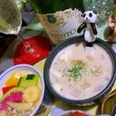 新玉葱と蕎麦の実のお豆腐豆乳スープ