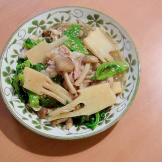 美味しい!旬の筍と小松菜としめじの、炒めもの♪