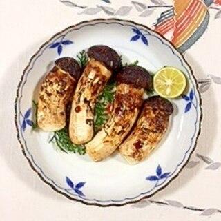 松茸をグリルで焼いて、スダチ