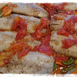 フライパン一つで調理☆鯵のトマト風味南蛮漬け