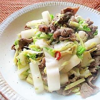 ノンオイル♪牛肉と白菜の生姜塩炒め