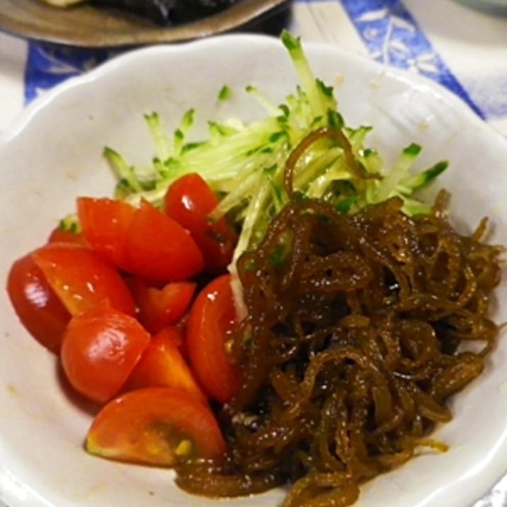 もずくトマトきゅうりの生姜サラダ