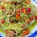 暑い夏には トマトとツナの 簡単冷製パスタ♪