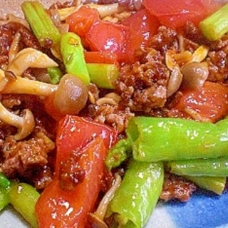「ひき肉と夏野菜のケチャップ炒め」    ♪♪