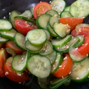 食べやすい キュウリとトマトの酢の物