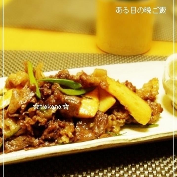 牛肉と筍のオイスターソース炒め:*:・'゚☆