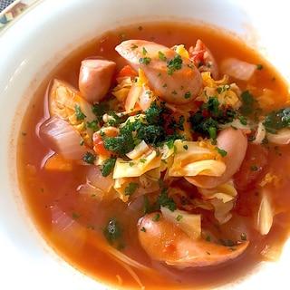ソーセージと春野菜のトマトスープ☆