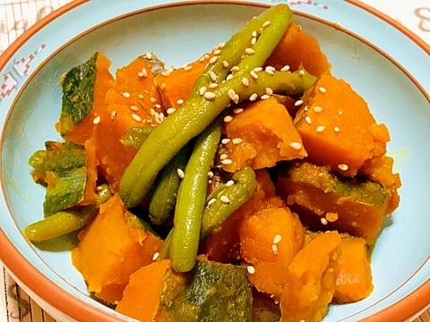 かぼちゃといんげんの煮物