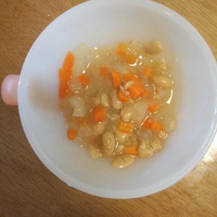 離乳食☆後期☆ 3種の野菜の納豆入りスープ