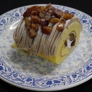 卵1個分の配合で✩ミニロールケーキ和栗のモンブラン