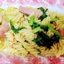 厚切りベーコンと小松菜のペペロンチーノパスタ♪