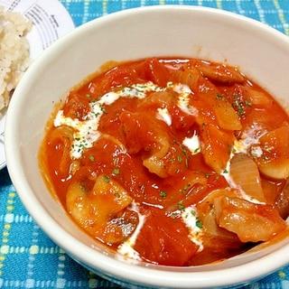 鶏モモ肉とトマトのストロガノフ