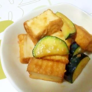 厚揚げとズッキーニの味噌マヨ炒め++