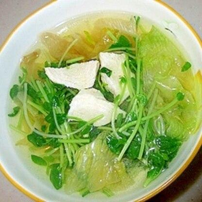簡単節約ヘルシー♪豆苗とレタスのスープ