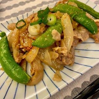 豚肉とスナップえんどうの炒め物*オイスターマヨ