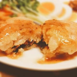 鶏むねの梅しそチーズ挟み焼き【脂質6.5g】