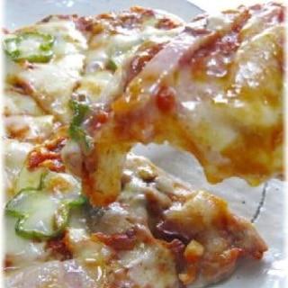 アンチョビとベーコンとチーズの簡単ピザ