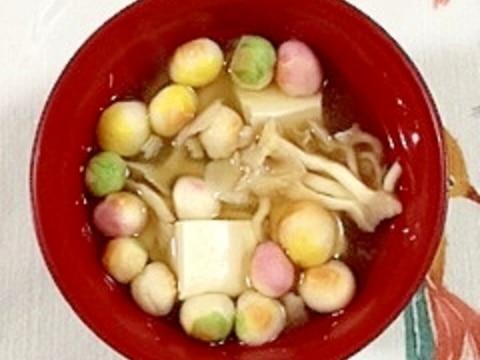 たもぎと塩とうふと豆麩のお味噌汁