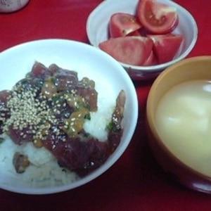 鮪ヅケ納豆丼
