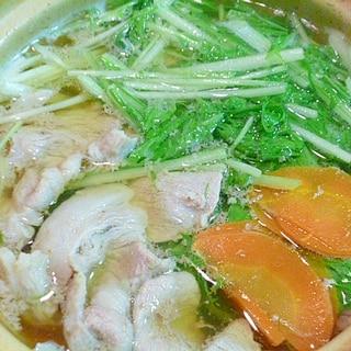 簡単♪ヘルシー♪シャキシャキ水菜の豚しゃぶ鍋