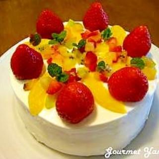 ふんわりスポンジ生地の♥フルーツたっぷりケーキ