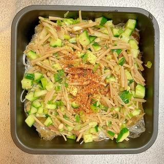 和え麺◎香味野菜となめたけの素麺