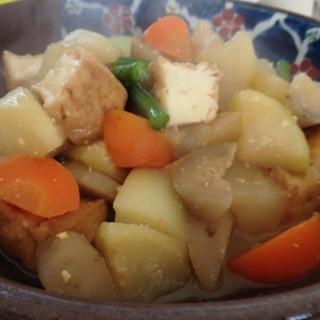 根菜と厚揚げのお味噌味の煮物