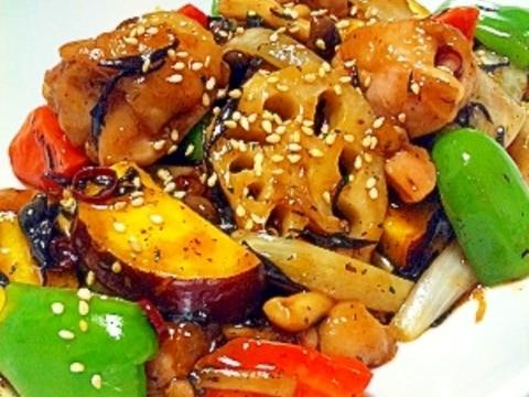 鶏と根菜のピリ辛甘酢炒め