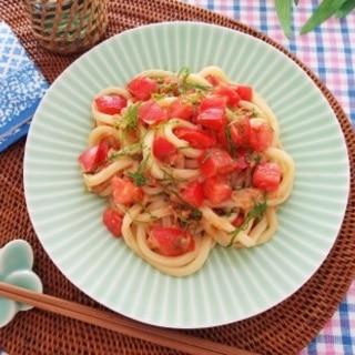 ツナとトマトの和えうどん