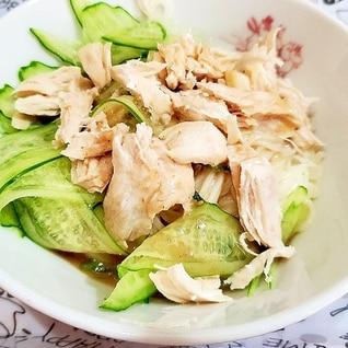 冷凍ササミで作る ささ身ときゅうりのサラダ素麺