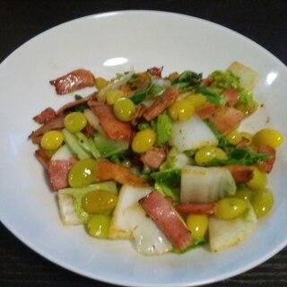 白菜とベーコンの銀杏炒め