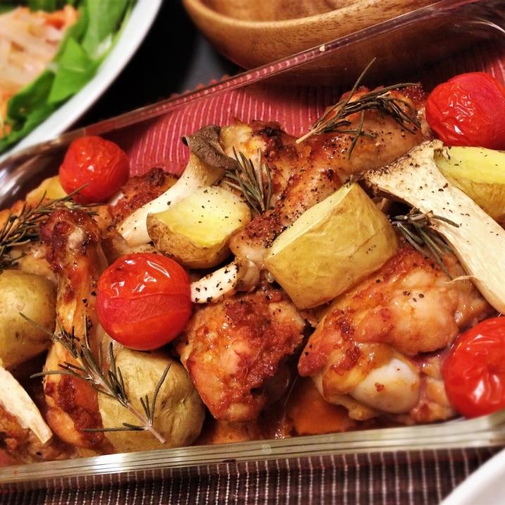 漬けたら焼くだけ☆手羽元と野菜のオーブン焼き